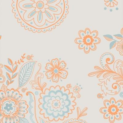 021-801576-1 FLOWERS ABRICOT BLUE. 150m